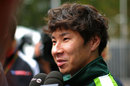Kamui Kobayashi talks to the media on Thursday