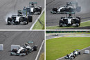 A sequence of photos showing Lewis Hamilton take the lead from Nico Rosberg