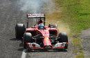 Fernando Alonso pulls his smoky Ferrari off at the Rettifilo