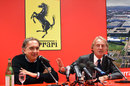 Outgoing Ferrari president Luca di Montezemolo and the man that will replace him, FIAT CEO Sergio Marchionne, hold a press conference
