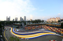A look at the new colour scheme of the first corner at Singapore