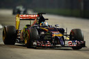 Jean-Eric Vergne hits the entry to a corner
