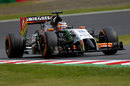Force India's Nico Hulkenberg behind the wheel in Friday practice