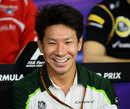 Kamui Kobayashi speaks to the media