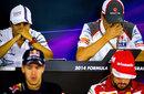 Felipe Massa, Adrian Sutil, Sebastian Vettel and Fernando Alonso during a sombre Sochi press conference