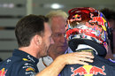 Christian Horner and Sebastian Vettel in the Red Bull garage