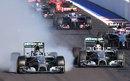 Nico Rosberg locks up heavily at Turn 2