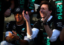 Lewis Hamilton and Toto Wolff celebrate Mercedes' constructors' championship