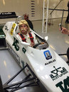 David Coulthard dons a Keke Rosberg wig and moustache while driving the Finn's 1982 Williams