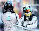 Nico Rosberg congratulates Lewis Hamilton on victory