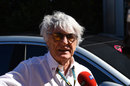 Bernie Ecclestone speaks to the media in Austin