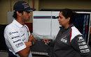Felipe Nasr talks with Monisha Kaltenborn in the paddock