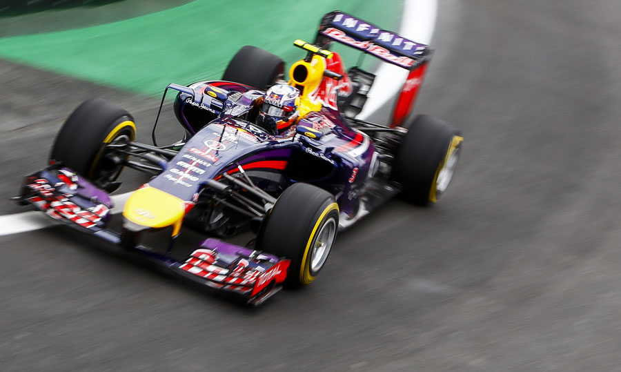 Sebastian Vettel on track in the Red Bull