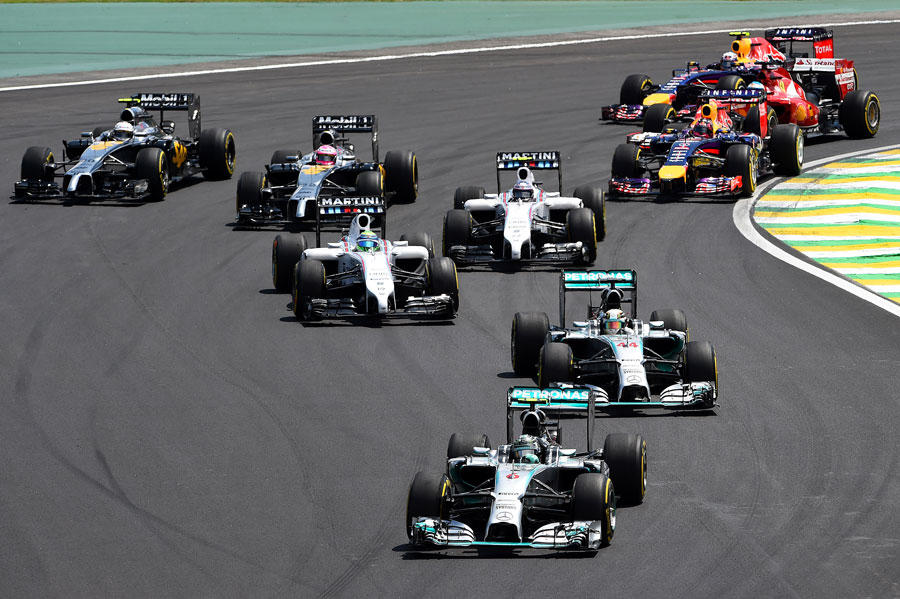 Nico Rosberg leads Lewis Hamilton at the start of the race