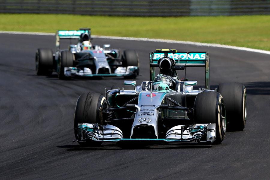 Nico Rosberg leads Lewis Hamilton on track
