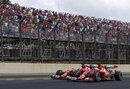 Fernando Alonso and Kimi Raikkonen battle for position