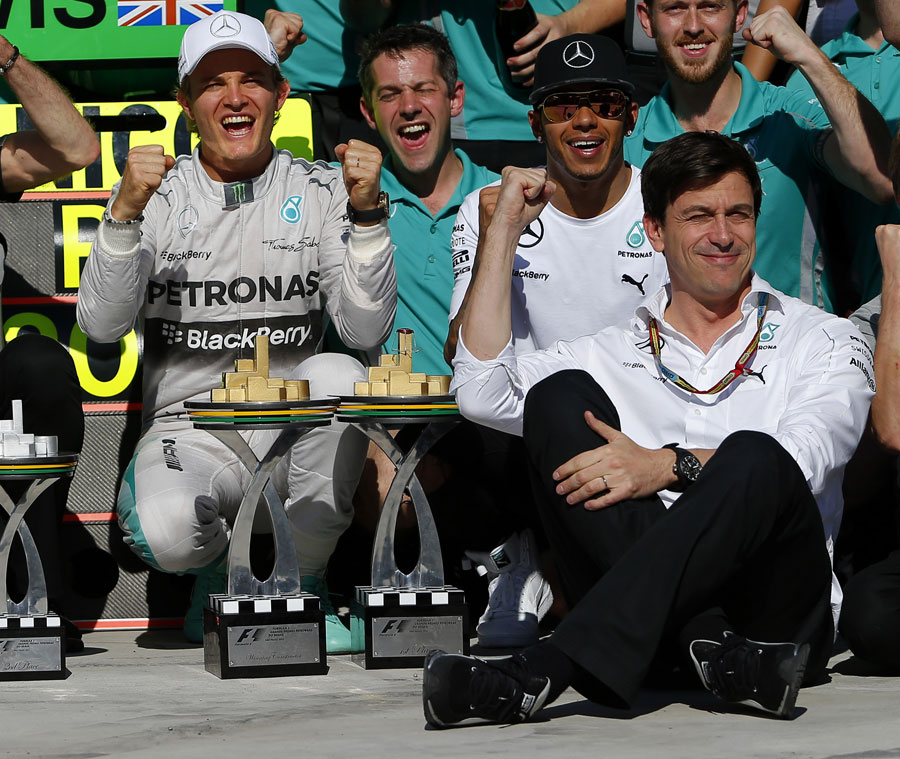 Mercedes celebrates its 11th one-two victory of the season