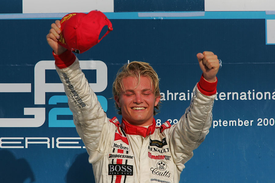 Nico Rosberg celebrates claiming the inaugural GP2 championship