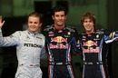 Nico Rosberg, Mark Webber and Sebastian Vettel