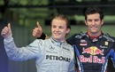 A happy Nico Rosberg and Mark Webber after qualifying