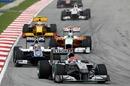 Michael Schumacher leads Nico Hulkenberg
