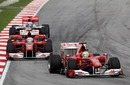 Felipe Massa leads Fernando Alonso and Jenson Button
