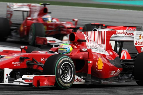 Felipe Massa leads Fernando Alonso