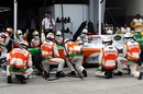 Force India's Adrian Sutil pits