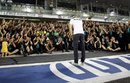 Nico Rosberg salutes Mercedes as the team applauds the championship runner-up