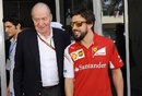 King Juan Carlos I of Spain and Fernando Alonso in the paddock