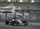 Nico Rosberg attacks the kerbs during testing
