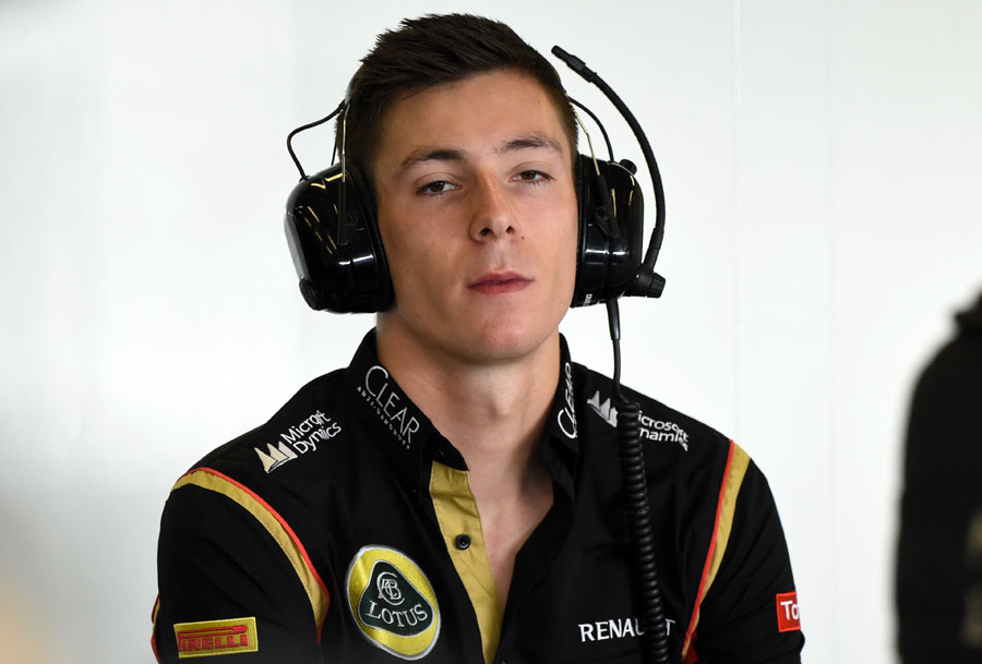 Alex Lynn in the paddock during his Lotus test