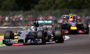 Lewis Hamilton leads Daniel Ricciardo on track