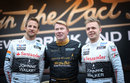 McLaren pair Jenson Button and Kevin Magnussen with double world champion Mika Hakkinen at a Johnnie Walker event