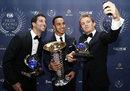 Lewis Hamilton poses for a selfie with Daniel Ricciardo and Nico Rosberg