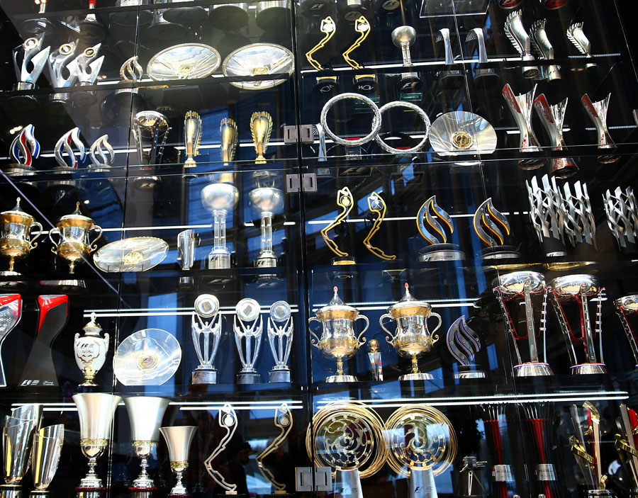 Red Bull's trophy cabinet at the team's Milton Keynes factory