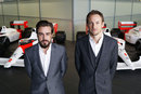 New McLaren signing Fernando Alonso with team-mate Jenson Button