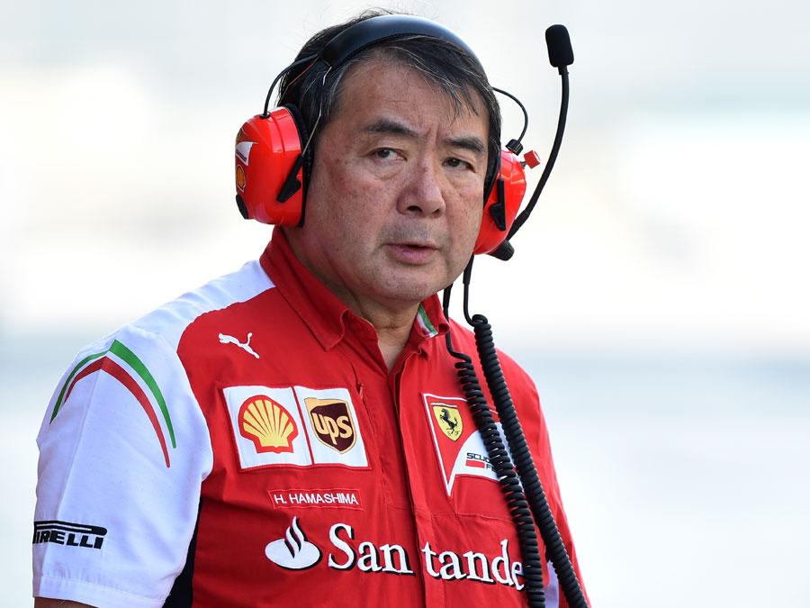 Ferrari tyre expert Hirohide Hamashima in the pit lane