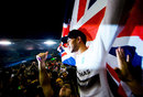 Lewis Hamilton celebrates becoming a two-time world champion