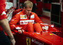 Sebastian Vettel lowers himself into the Ferrari F2012