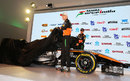 Nico Hulkenberg and Sergio Perez pull the covers off the Force India VMJ28 at its Mexico launch event