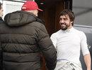 Fernando Alonso greets Mercedes advisor Niki Lauda in the Jerez paddock