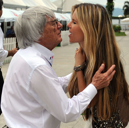 Bernie Ecclestone greets Vivian Sibold, girlfriend Nico Rosberg