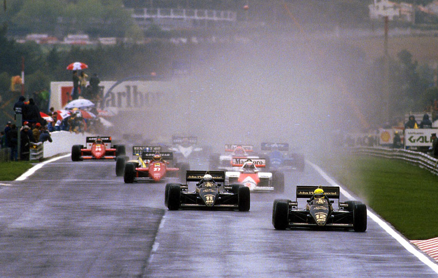 Ayrton Senna leads the start on his way to his first grand prix victory