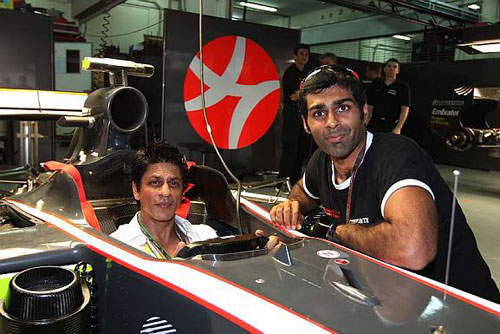 Karun Chandhok with Bollywood actor Shahrukh Khan