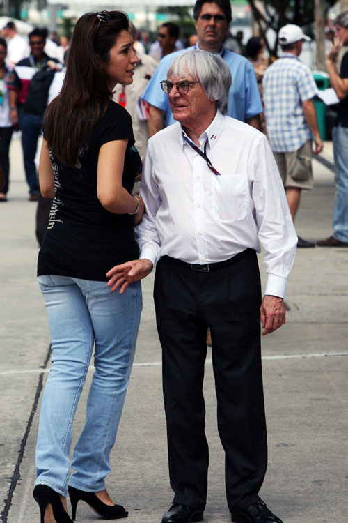 Bernie Ecclestone with girlfriend Fabiana Flosi