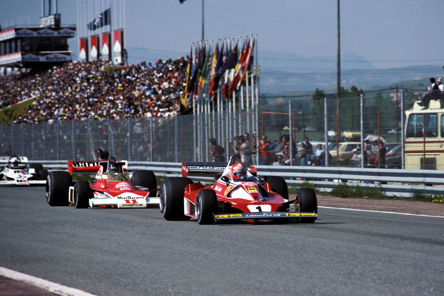 Second placed Niki Lauda leads James Hunt