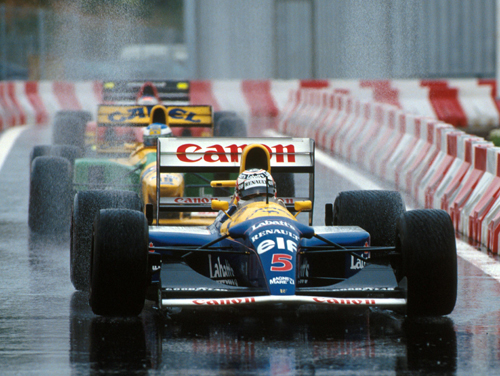 Nigel Mansell leads the 1-2-3 towards parc ferme