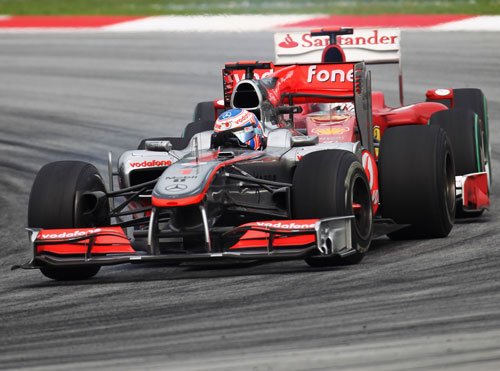 Jenson Button hold off Felipe Massa's Ferrari