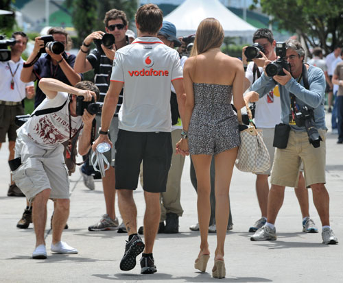 Jenson Button and girlfriend Jessica Michibata on race day